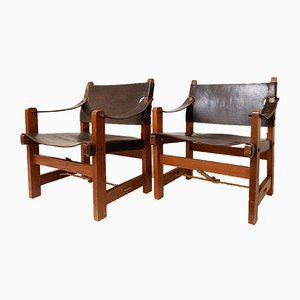 Wood and Brown Leather Lounge Chairs, Set of 2