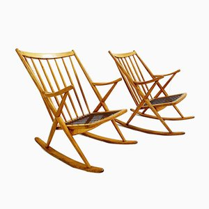 Danish Rocking Chair by Frank Reenskaug for Bramin, 1960s, Set of 2
