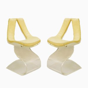 French Dumas Chairs in Lucite and Leather, 1970s, Set of 2