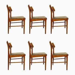 Stühle aus Holz und Schwarzem Kunstleder, 6er Set