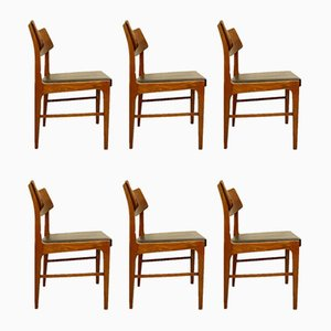 Wood and Black Leatherette Chairs, Set of 6