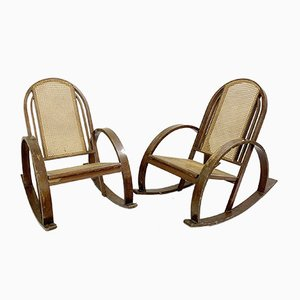 Bentwood Rocking Chairs with Sitting and Back in Caning, 1960s, Set of 2