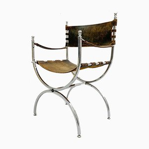 Chrome and Leather Curule Armchairs, 1960s, Set of 6