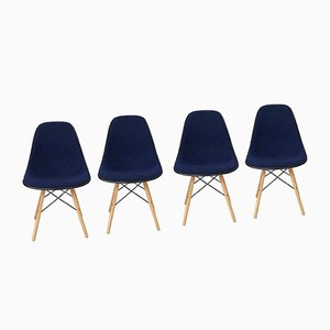 Navy-Blue Upholstery & White Fiberglass Shell Chairs from Herman Miller, 1970s, Set of 4