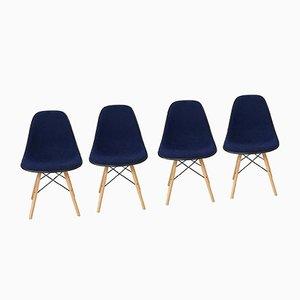 Sillas Shell de tapicería azul marino y fibra de vidrio blanca de Herman Miller, años 70. Juego de 4