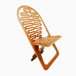 Prototype European Cutout Plywood Lumba Rest or Puzzle Chair by Gregg Fleishman, 1970s
