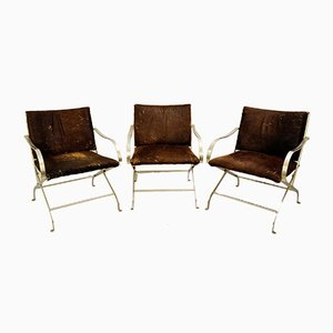 Armchairs in Chrome and Cowhide, 1970s, Set of 3