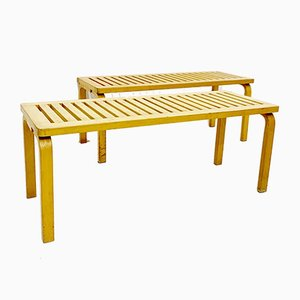 153 Benches in Birch by Alvar Aalto for Artek, 1940s, Set of 2