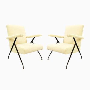 Italian Armchairs with Adjustable Backrests & Cream Upholstery, 1950s, Set of 2