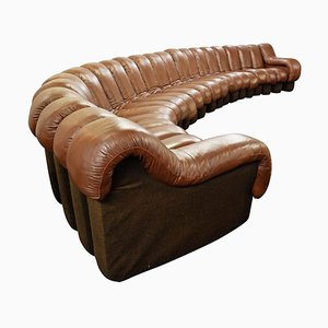 Swiss Brown Leather Modular Model DS600 Non Stop Sofa, 1970s