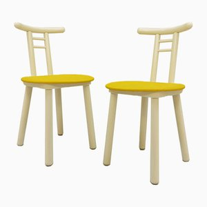 Italian White Lacquered Wooden Chairs, 1970s, Set of 2