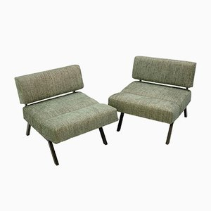 Italian Panchetto Green Upholstery Reclining Chairs by Rito Valla for IPE, 1960s, Set of 2