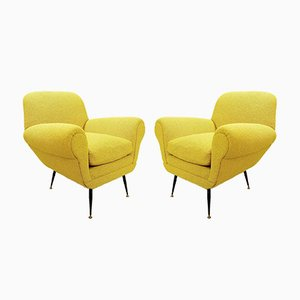 Curry Color Upholstery Armchairs by Gigi Radice for Minotti, 1960s, Set of 2