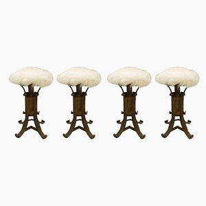 Italian Brutalist Wrought Iron Stools with Faux Sheep, 1960s, Set of 4