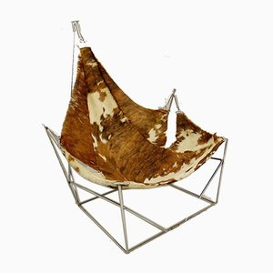 Odile Mir Lounge Chair with Cow Skin Seat, France, 1972