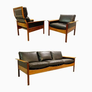Living Room Set 3-Seat Sofa, High-Back Armchair & Armchair from Leolux, Netherlands, 1970s