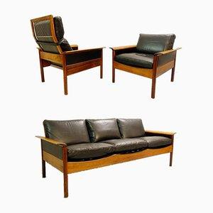 Set da salotto con divano a tre posti, poltrona con schienale alto e poltrona di Leolux, Paesi Bassi, anni '70