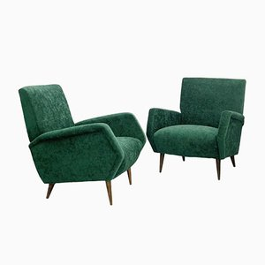 Green Velvet Upholstery Model 803 Armchairs by Gio Ponti for Cassina, Italy, 1954, Set of 2