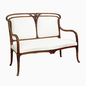 Art Nouveau White Velvet Bench, 1920s