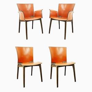Chairs in Teak and Leather from Cassina, 1990s, Set of 4