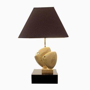 Lámpara de mesa de pez de latón con pantalla negra y dorada, años 70