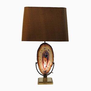 Lámpara de mesa de latón con ágata, pantalla marrón y dorada, años 70