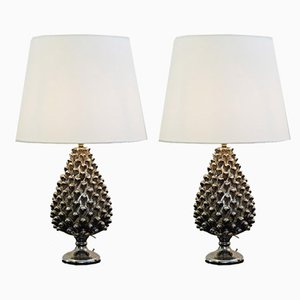 Ceramic Pine Cone Table Lamps, 1970s, Set of 2
