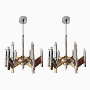 Chrome and Brass 9-Light Chandeliers from Sciolari, 1970s, Set of 2
