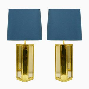 Large Brass and Mirror Table Lamps, 1970s, Set of 2