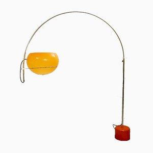 Lámpara de pie de arco naranja, años 70