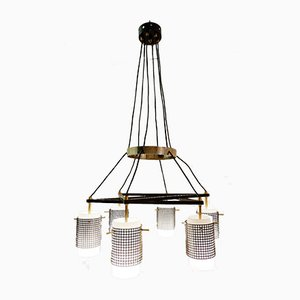 Italian Opaline and Metal Perforated Chandelier, 1960s