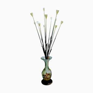 Italian Ceramic Vase Floral Floor Lamp, 1960s