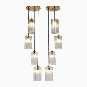 Long Glass Pendant Lamps, 1970s, Set of 2