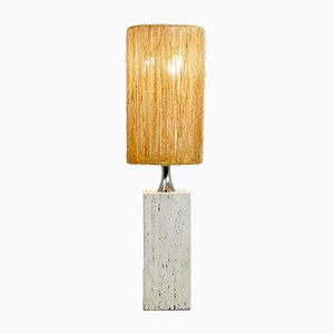 Large Italian Travertine Table Lamp with Rope Lampshade, 1960s