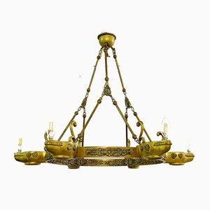 Neoclassical Bronze Crown Chandelier
