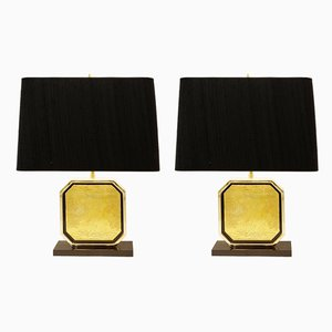 Table Lamps in 24-Karat Maho by Georges Mathias, 1970s, Set of 2