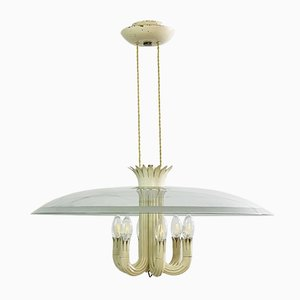 Italian Modern Neoclassical Glass Chandelier by Pietro Chiesa for Fontana Arte, 1940s