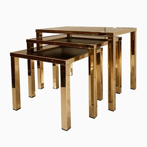 23 Karat Gold-Plated Nesting Tables by Belgo Chrome, 1970s