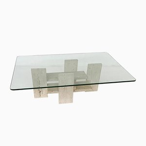 Brutalist Travertine Coffee Table by Willy Ballez, Belgium, 1970s