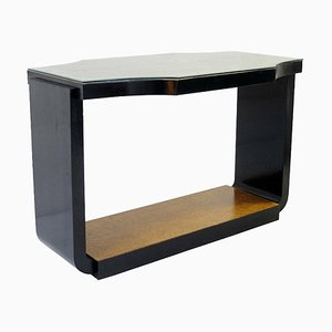 Art Deco Console with Burl Wood Top and Black Lacquered Base, 1950s