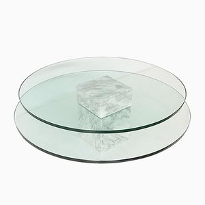 Marble and Glass Round Coffee Table, 1980s