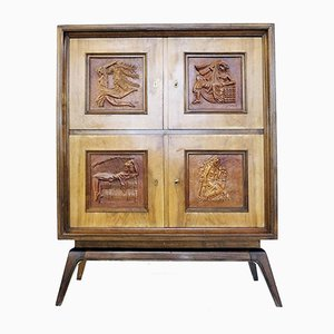 Wood Cabinet with Carved Decorative Panels, 1940s