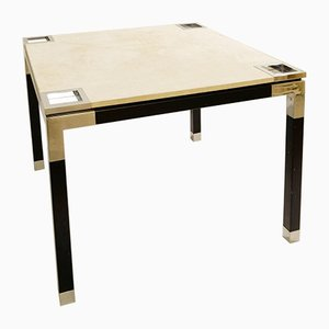 Italian Postwar Game Table with Suede Top by Romeo Rega, 1970s