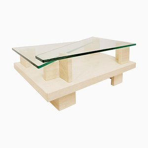 Glass Top and Travertine Graphic Coffee Table, 1970s