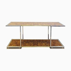 Burled Walnut Chrome and Brass Console, 1970s