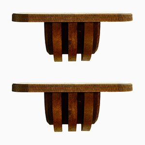 Large Wooden Wall Consoles by Pier Luigi Colli, Italy, 1950s, Set of 2