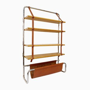 Jumbo Bookcase in Birch, Chrome & Leather by Luigi Massoni for Poltrona Frau, Italy, 1971