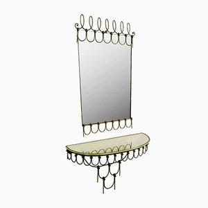 Italian Iron Mirror & Small Wall Console, 1970s, Set of 2