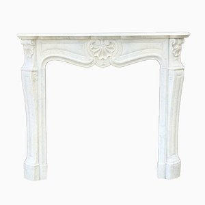 19th Century Louis XV Style Carrara Marble Fireplace