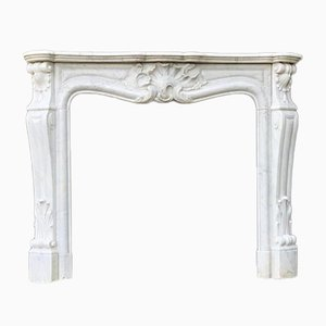 19th Century Louis XV Style White Carrara Marble Fireplace